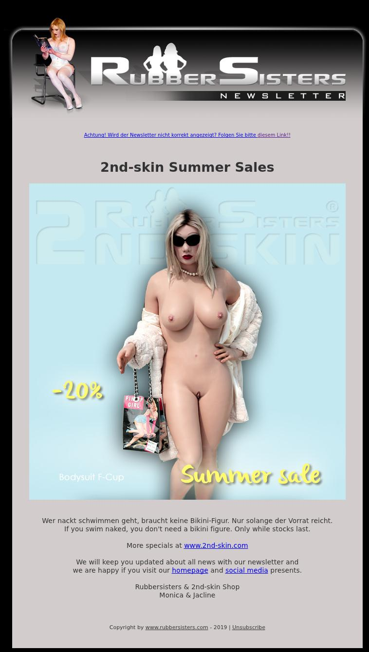Rubbersisters / 2nd-skin - News 07/2019 - Summer Sale