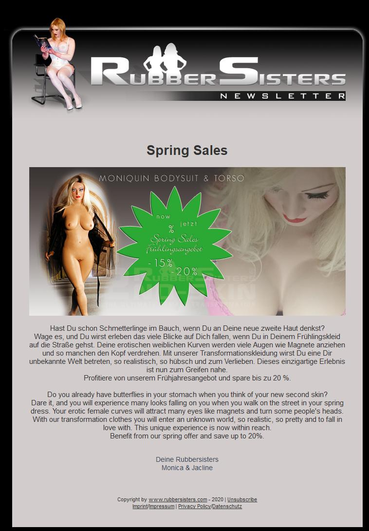 Rubbersisters / 2nd-skin - News 03/2020 - Spring Sales